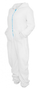 Ladies Teddy Jumpsuit White/Turquoise | XS/S