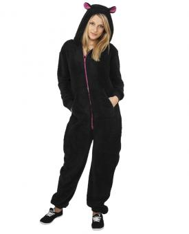 Ladies Teddy Jumpsuit Black/Fuchsia | XS/S